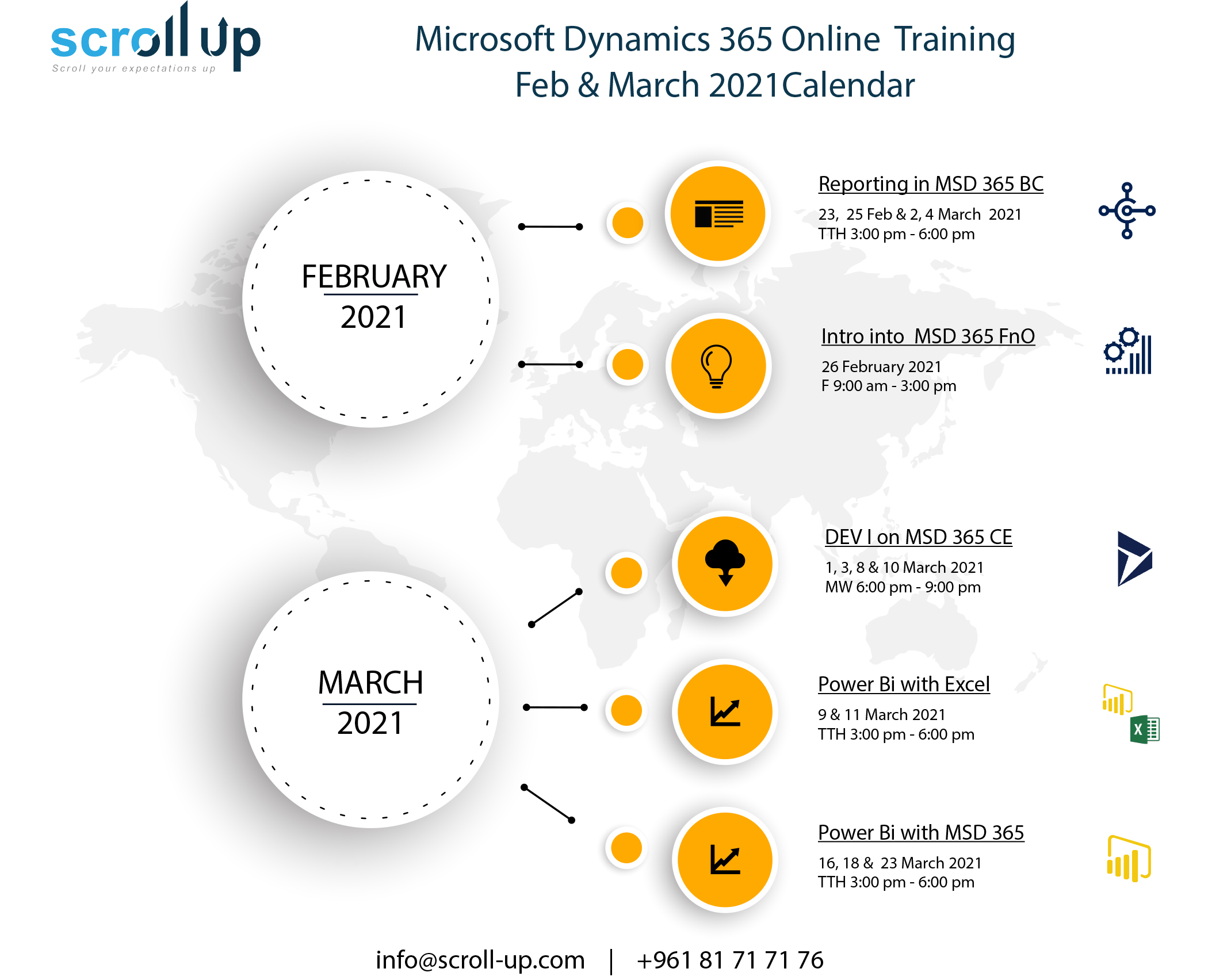 Microsoft Dynamics 365 Online Training Feb & March 2021 Calendar